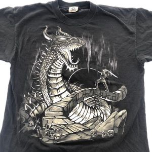 Vintage Liquid Blue Dragon Shirt Black Size M-L